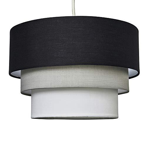MiniSun - Preciosa pantalla de lámpara de techo colgante 'Azteca' - redonda a 3 niveles de tela en negro, gris y blanco