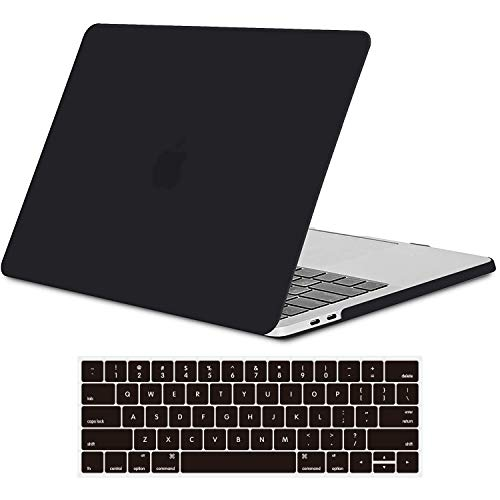 TECOOL MacBook Pro 13 Inch Case 2019 2018 2017 2016 Release Model A2159 A1989 A1706, Slim Plastic Hard Shell Case & Keyboard Cover for MacBook Pro 13 Retina with Touch Bar, Matte Black