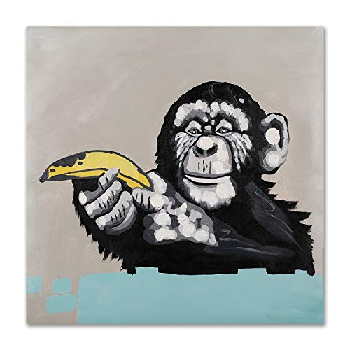 Moderner Pop-Art-Dekor, gerahmt, Bananenaffe, Leinwanddruck, Heimdekoration, Wandkunst, Galerie-Innenrahmen, 61 x 61 cm