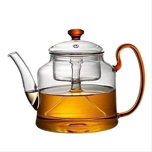 FHISD Tetera de Vidrio Resistente al Calor de 1200 ml, Adecuada para Cocina de inducción Que calienta la Taza de té 1yess