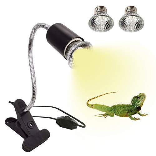Reptilien Aquarium Wärmelampe Schildkrötenleuchten mit Clip, 2 UVA UVB-Glühbirnen (50 W), einstellbarer Halter für Sonnenlampe, Lichtlampe Haustierheizung Eidechsenschlange Reptilienschildkröten