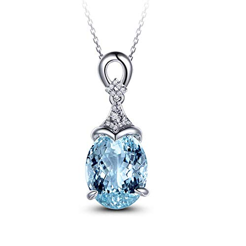 AnazoZ Collares Mujer Plata Azul Claro Colgante Mujer Oro Blanco 18K Collar Oval Zafiro Azul Claro 5.15ct