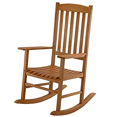 National Outdoor Living Eucalyptus Wood Patio Rocking Chair
