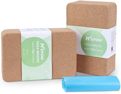 Yogablock Kork stabil & rutschfest | Yoga Block 2er Set |Natur Korkblock für Yoga und Fitness –76mm Pilates & Hatha Klotz – Cork Brick – Yogaklotz 100% Naturkork Mit Yoga Gurt