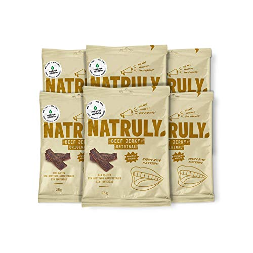 NATRULY Beef Jerky Original, Carne Seca 100{7f48feded1e790799aaa94d522fc4c74c34a237c529278de3b2cbe4d18f2c0a3} Vacuno, Sin Gluten, Sin Lactosa, Sin Azúcar, Sin Aditivos Artificiales -Pack 6x25g (Natural AThlete)
