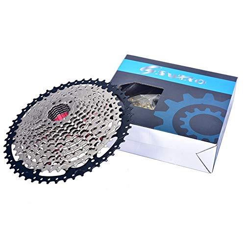 LQKYWNA Cassetta per Bicicletta A 12 velocità, Pignoni in Acciaio Ad Alta Tensione Cassetta Volano Mountain Bike Ruota Libera Argento per Modifica Bici Aggiornamento Mountain Bike