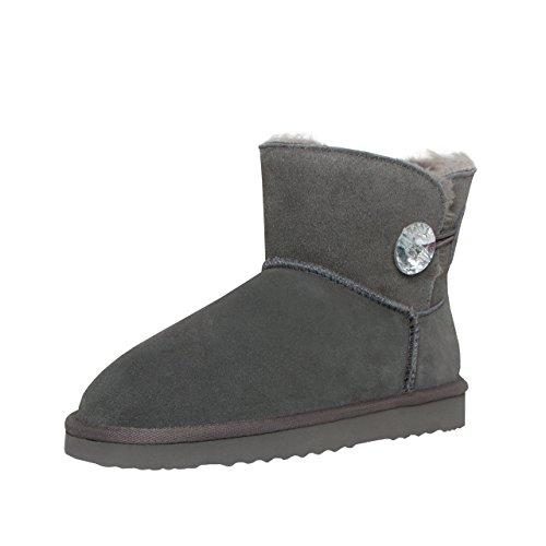 SKUTARI Wildleder Damen Winter Boots | Warm Gefüttert | Schlupf-Stiefel mit Stabile Sohle | Bling Diamant Pailletten Knopf Schuhe (39, Grau/5034)