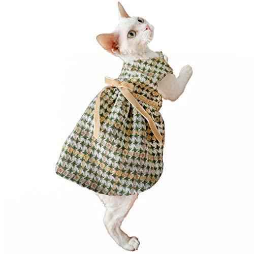 TENGTUD Ropa de Gato de Pelo, Sphynx/Devon Lattice Cat.-M +_Pie Corto