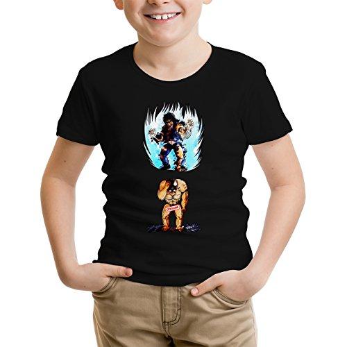 Okiwoki T-Shirt Enfant Garçon Noir Parodie Ken Le Survivant - Kenshiro - Trop de Puissance. !!! : (T-Shirt Enfant de qualité Premium de Taille 11-12 Ans - imprimé en France)