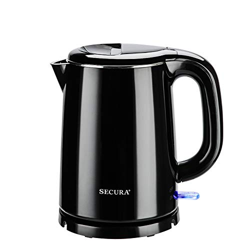 Secura Stainless Steel Double Wall Electric Kettle Water Heater for Tea Coffee w/Auto Shut-Off and Boil-Dry Protection, 1.0L (Black)