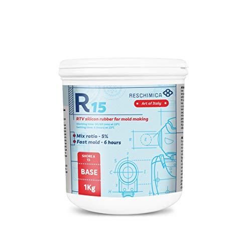 Gomma Siliconica Bicomponente (Base+Catalizzatore) Liquida per Stampi in Silicone R-15 (1 Kg). Indurimento Rapido a Temperatura Ambiente. Ideale per Realizzare Stampi Morbidi (13 ShoreA)