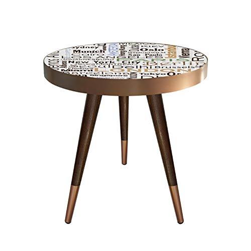 Mesa auxiliar, mesita de noche, mesa de café, mesa de salón, diseño de ciudades, nombre de Estambul, Berlín, Monaco, Roma, Nueva York, Hong Kong, Madrid, París, Londres, 55 cm x 45 cm