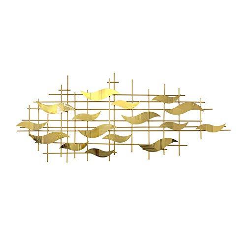 SYue - Cuadro decorativo de pared de metal con diseño de pájaro en color dorado