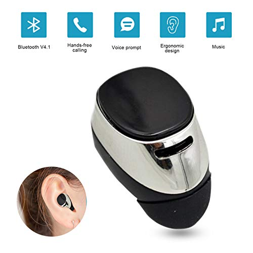 Mini Bluetooth Earbud Small Wireless Headphone with 5 Hour Playtime in Ear Bluetooth Earpiece Car Headset for Driving Trucker Compatible with iPhone Samsung LG Huawei HTC Motorola (One Piece)