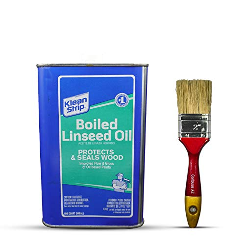 Klean Strip Boiled Linseed Oil 1 Quart with Centaurus AZ Paintbrush, Protects, Seals Unfinished Wood, Produce Beautiful Finish, Waterproof Wood, Improves Flow, Gloss, Pure, Non-Toxic, Quick Drying