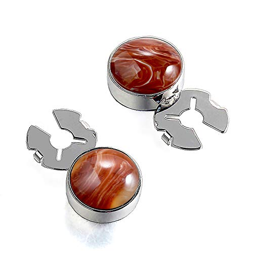 FORCEHOLD Natural Stone 17.5MM Button Cover Silver for Tuxedo Business Formal Shirts Substitute to Traditional Cuff Links for Men-One Pair (Coffee Stone)