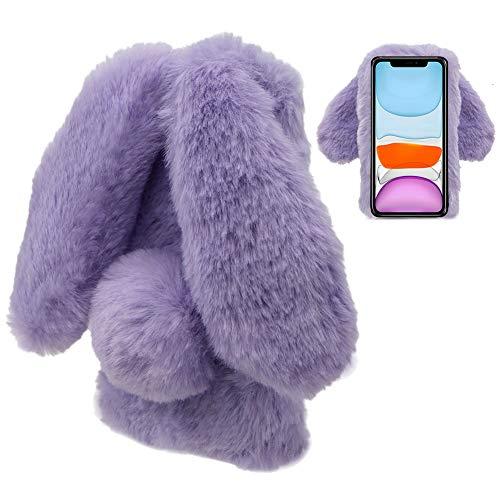 LCHDA Plüsch Hülle für Samsung Galaxy A21s Flauschige Hasen Fell Handyhülle Mädchen Süße Künstliche Kaninchen Pelz Niedlich Hasenohren Handytasche Schützend Stoßfest TPU Silikonhülle - Lila