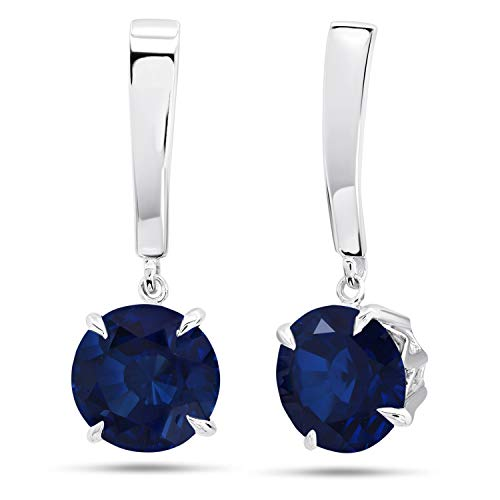 Nicole Miller Fine Jewelry - Sterling Silver with 8mm Round Cut Created Blue Sapphire Dangle Drop Earrings