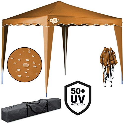 Deuba® Pavillon Capri 3x3m in Ockerbraun Faltpavillon Gartenzelt Sonnenschutz Popup wasserdicht Farbauswahl Tragetasche