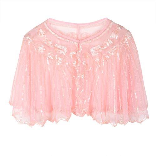 PrettyGuide Women's 1920s Shawl Beaded Sequin Deco Cape Bolero Flapper Cover Up Matte Pink