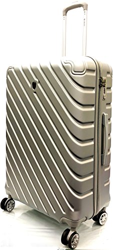 ATX Luggage 29' Large Super Lightweight Durable ABS Hardshell Hold Luggage Suitcases Travel Bags Trolley Case Hold Check in Luggage with 4 Wheels Built-in 3 Digit Combination (29' Large, Silver)