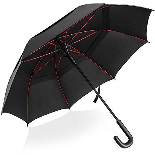VONDAVO 54 inches Regenschirm Stockschirm Automatik - Übergroß Doppelt Überdachunges sturmsicherer Golfschirm mit 8 Rot Fiberglas Streben und Ledergriff, ideal für 1-3 Personen bei Sturm