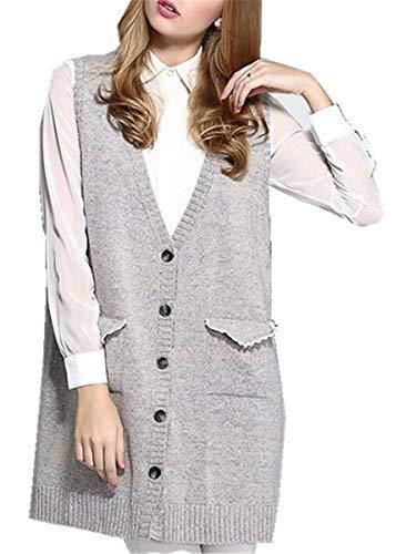 HX fashion Vest Blazer Vrouwen Elegante Herfst Comfortabele Maten Winter Lang Vest Mode Losse Gezellige Colbert Mouwloze V-Hals Met Zakken Jassen