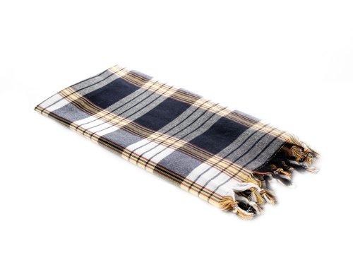 Carenesse Hamamtuch CLASSIC schwarz kariert, 100% Baumwolle, 80 x 170 cm, leicht, kleines Packmaß, Pestemal, Saunatuch, Badetuch, Strandtuch, Handtuch Backpacker, Turkish Towel, Fouta