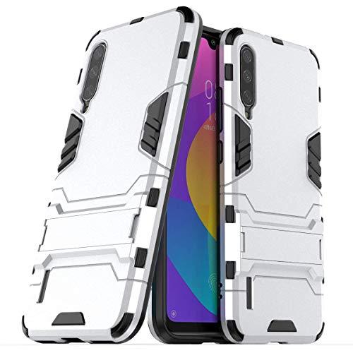 FanTings Capa para Xiaomi Mi A3/Xiaomi Mi CC9e, robusta e à prova de choque, com suporte de celular, capa para Xiaomi Mi A3/Xiaomi Mi CC9e-Branco