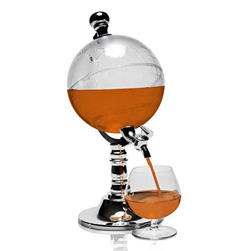 SOLEDI tapsysteem drankdispenser in wereldbol design - 1L - transparant - voor koude alcoholische of alcoholvrije dranken