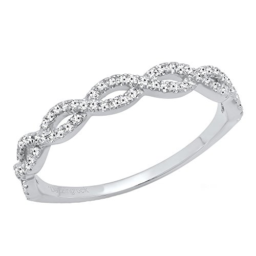 Dazzlingrock Collection 0.20 Carat (ctw) 10K Diamond Swirl Anniversary Wedding Band Stackable Ring 1/5 CT, White Gold, Size 7