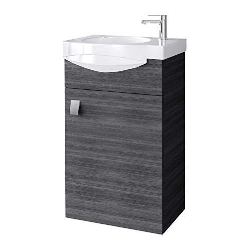 Planetmöbel Badmöbel Set Gäste WC Waschtischunterschrank Keramikwaschbecken Anthrazit
