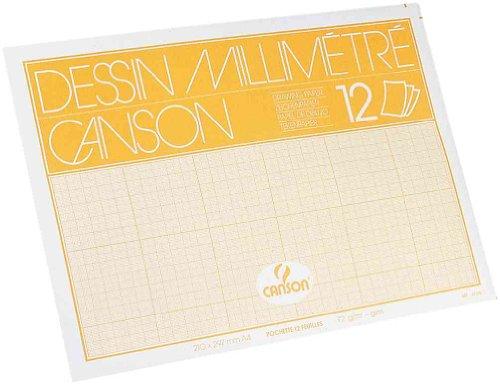 CANSON Pochette 12 feuilles Papier calque millimétré Bistre A4 70/75g