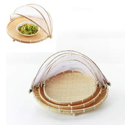 Cesta para tienda de servicio de alimentos-Cesta de bambú tejida a mano-Recipiente de almacenamiento con tapa de pan de verduras con gasa,para cocina a prueba de polvo,a prueba de mosquitos(3 piezas)