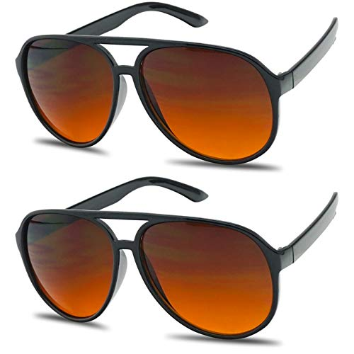 SunglassUP - Blue Blocking Oversized Bomber Aviator Sunglasses Amber Tinted Lens (Matte Black, Amber (Blue Buster Lens))