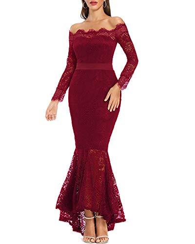 LALAGEN Women's Floral Lace Long Sleeve Off Shoulder Wedding Mermaid Dress Wine L
