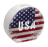 Spardose USA-Flagge im Used Erscheinungsbild - Sparschwein für Urlauber eine schöne Sparbüchse mit der vereinigten Staaten Nationalflagge verziert um auf die Reise zu sparen