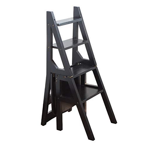 WYF-ZB Holzklappstufenleiter Stuhl - Faltbare 4 Stufen Hocker Heavy Duty Anti-Rutsch-Trittleiter |Bücherregal | Blumenständer | Abendessen Stühle for Küche und Bibliothek, Schwarz