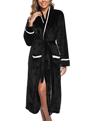 iClosam Peignoir Femme Robe de Chambre Polaire Peignoir Homme en Peluche Ultra Doux Peignoir de Bain Flanelle Chaud Longue