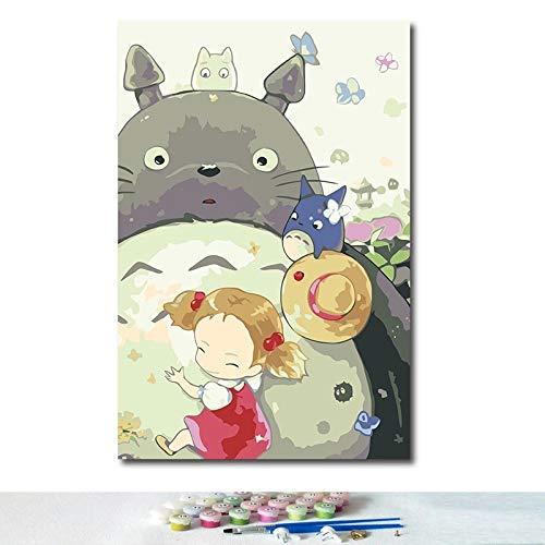 JHGJHK Hayao Miyazaki Anime Cartoon My Neighbor Totoro Manga Movie Pintura al óleo Mural Family Room Decoración Pintura (Imagen 6)