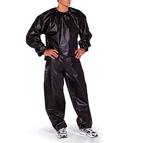 Heavy Duty Fitness Weight Loss Sweat Sauna Suit Exercise Gym Anti-Rip : Black Color Size XL