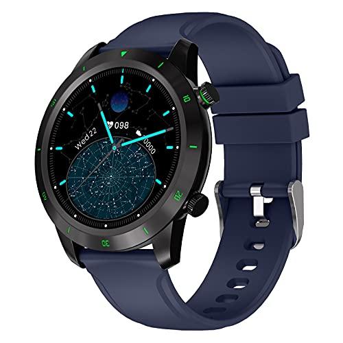 BATQER Smartwatch, Podómetro De Monitorización De Oxígeno En Sangre Y Presión Arterial De Frecuencia Cardíaca, Reloj Inteligente Bluetooth Impermeable IP68,Azul