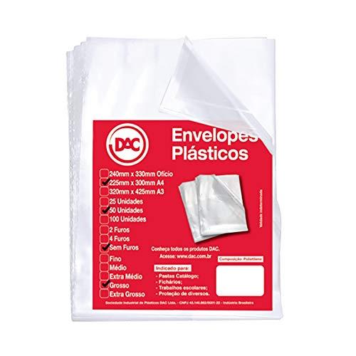 Blister 50 Envelopes A4 Grosso sem Furos, DAC, Blister 50 Envelopes A4 Grosso sem Furos 5075A4-50, Transparente, 5075A4-50