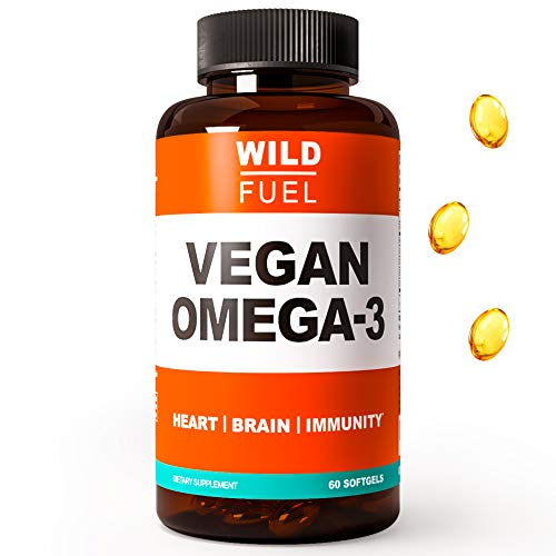 Vegan Omega 3 Supplement - Wild Fuel Algae Omega 3 DHA and EPA Fatty Acids - Fishless, Cruelty-Free, Burpless, Tasteless - Plant-Based Heart, Brain, Joint, and Immunity Support - 60 Softgels