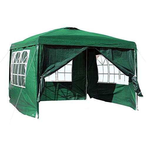 WilTec Carpa de jardín con Elementos Laterales Desmontables 3x3m Verde con Ventanas Cenador para Exterior