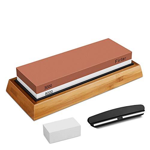 Cuchillo Piedra de Afilar Kit, YINKUU Profesional Piedra Afilar Sacapuntas Piedra Juego, Premium 2 Lado Grano 3000/8000 Agua Piedra, Antideslizante Bambú Base