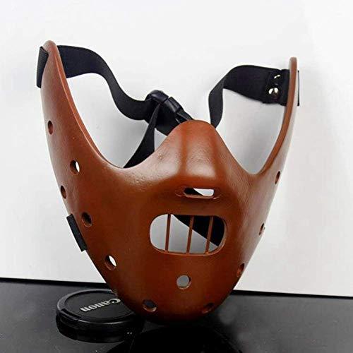 DEMAX Das Schweigen der Lämmer Hannibal Lecter Harz Masken Maskerade Halloween Cosplay Tanzparty Requisiten Halbe Gesichtsmaske
