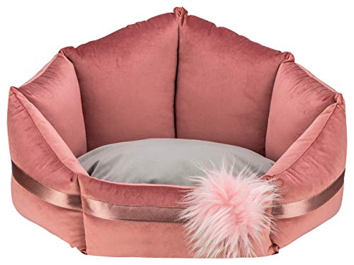 MOOI Luxus Hundebett Luxus Hundesofa Waschbar Hundekörbchen Exklusiv Katzenbett Haustierbett Hundekissen für kleine mittlere große Hunde I Flower I Pink I M