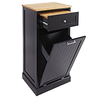 SpaceMaster SM-CMC-800-BLK Freestanding Microwave Kitchen Cart Trash Can Holder Bamboo Cutting Board, Black