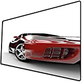 Alfombrilla de ratón (600x300x3 mm) Teen, Modern Automotive Vivid Toned Car Back View Prestige Passion Imagen artística, Negro y rubí Superficie Suave y cómoda de la Alfombrilla de ratón para Juegos